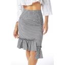 Summer Womens Hot Stylish High Waist Button Down Check Print Ruffle Hem Midi Fitted Skirt