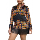 Fashion Womens Plunge V Neck Tassel Trim Long Sleeve Check Printed Chic Rompers
