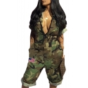 Womens Hot Popular Star Spangled Banner Printed Plunge V Neck Short Sleeve Camo Rompers