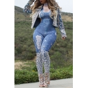 Womens Trendy Blue Straps Ripped Printed Skinny Fitted Overall Jumpsuits