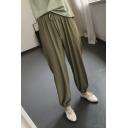 Summer Hot Popular Plain Drawstring Waist Elastic Cuff Loose Chiffon Pants