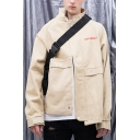 Mens Vintage Simple Letter Embroidery Stand Collar Long Sleeve Khaki Jacket