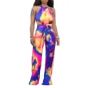 New Arrival Cool Unique Chic Womens Sleeveless Halter Neck Self Tie Tie Dye Fitted Jumpsuits