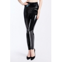 Womens Trendy Black High Waist Skinny Fitted Stretch PU Legging Pants