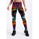 New Arrival Elastic Waist Skull Floral Printed Fitted Legging Pants