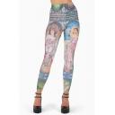 Womens Hot Sale Oil Painting Printed High Waist Skinny Dance Legging Pants