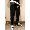 Men's Trendy Letter Printed Cross Ribbon Patched Casual Loose Cotton Cargo Pants