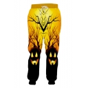 Popular Fashion Creative Halloween Pumpkin Head 3D Printed Drawstring Waist Yellow Casual Loose Jogging Sweatpants