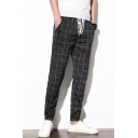 Men's Trendy Plaid Pattern Letter Drawstring Waist Dark Grey Cotton Relaxed Sweatpants Tapered Pants