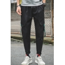 Men's Street Trendy Letter Ribbon Embellished Drawstring Waist Casual Cargo Pants with Side Pockets
