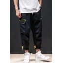 Men's Popular Fashion Contrast Flap Pocket Side Drawstring Waist Straight Loose Cargo Pants