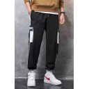 Men's Trendy Colorblock Letter Printed Buckle Strap Flap Pocket Side Drawstring Waist Casual Loose Sports Cargo Pants