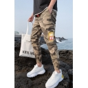 Men's Fashion Popular Camouflage Letter Printed Drawstring Waist Casual Cargo Pants with Side Zipped Pocket