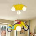 Metal Motor LED Ceiling Pendant with Orb Shade 4 Heads Creative Cool Hanging Light in Yellow