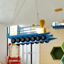 Child Bedroom Truck Pendant Light Metal Nordic Creative Blue LED Ceiling Pendant
