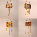 Wood Luggage Shaped Chandelier Restaurant Creative Vintage Pendant Light in Beige