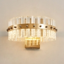 Round Bedroom Stair Wall Light Clear Crystal Modern Simple Style Wall Lamp in Gold