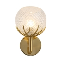 Modern Gold Wall Light Globe Shade 1 Light Lattice Crystal Wall Lamp with Antlers for Living Room