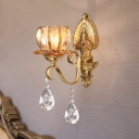 Lotus Hotel Wall Light with Crystal Metal 1/2 Head Elegant Style Sconce Light in Brass