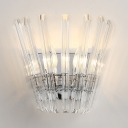 Luxurious Candle Wall Light with Crystal Decoration Metal 2 Lights Chrome Sconce Light for Foyer