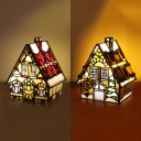 Cute Tiffany Red/Yellow Desk Light House Stained Glass Plug-In Night Light for Child Bedroom