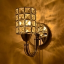 Fashion Chrome Wall Light Cylinder Shade 1 Head Metal Sconce Light with Square Crystal for Hallway