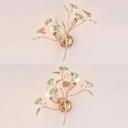 Ceramics Blossom Wall Lamp with Crystal Butterfly 2 Lights Pretty Sconce Light in Green/Pink/White