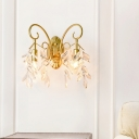 Gold Fake Candle Wall Sconce 2 Lights Classic Style Metal Wall Light for Bedroom Hotel