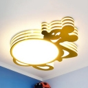 White Cap&Star/Mouse Ceiling Mount Light Cartoon Acrylic Third Gear Ceiling Lamp for Child Bedroom