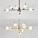Black/Gold Twig Pendant Light Nine Lights Classic Metal Chandelier for Living Room Restaurant