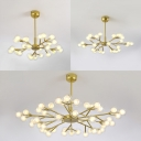Elegant Style Snowflake Chandelier Metal 25/30/45 Bulbs Gold Finish Pendant Lamp for Boutiques