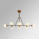 Restaurant Hotel Modo Island Chandelier Milk Glass 8 Heads Modern Simple White Island Lamp