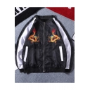 Guys Chinese Style Dragon Totem Embroidery Stand Collar Zip Up Black Baseball Jacket