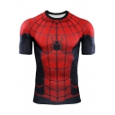 Mens Cool Red Spider Printed Basic Round Neck Short Sleeve Slim Fit T-Shirt