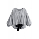 Trendy Pinstriped Printed Round Neck Long Sleeve Bow-Tied Hem Casual Loose Blouse