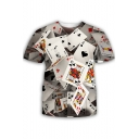 Cool Funny 3D Poker Card Printed Round Neck Short Sleeve White T-Shirt
