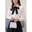 Womens Chic Elegant Bow-Tied Collar Long Sleeve Button Embellished White Chiffon Shirt Blouse