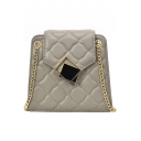 New Fashion Solid Color Diamond Check Quilted Metal Buckle Crossbody Purse with Chain Strap 21*20*8 CM