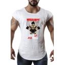 Muscle Guys Fashion Pattern Round Neck Training Gym Fitness T-Shirt