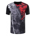 Fashion Printed Mens V-Neck Short Sleeve Outdoor Quick Drying Running Fitness Black Tee