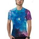 Mens Stylish Magic Galaxy Printed Round Neck Short Sleeve Blue T-Shirt