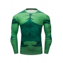 New Fashion Green Comic Cosplay Costume Round Neck Long Sleeve Training Sport Fitness Tight T-Shirt
