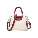 Women's Fashion Color Block Double Zipper Side Large Capacity Commuter Satchel Handbag