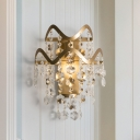 Luxurious Crystal Flower Wall Lamp Single Light Metal Wall Sconce in Gold for Corridor Bedroom