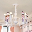 Metal Candle Pendant Light with Waiter Boys Bedroom 5 Light Contemporary Chandelier in White