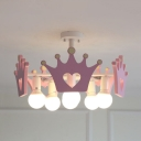Girls Bedroom Open Bulb Suspension Light Resin 6 Lights Lovely Pink Chandelier with Crown