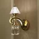 1 Light Trapezoid Wall Light Elegant Style Metal Sconce Light with Glittering Crystal in Gold for Bedroom