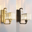 Contemporary Cube Shade Sconce Light with Crystal Metal One Bulb Gold/Matte Black Wall Light for Porch