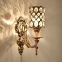 Cylinder Shape Carved Wall Lamp Luxurious Metal Sconce Light with Crystal Deco for Hotel Cafe