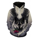 Funny Rose Wolf 3D Printed Long Sleeve Casual Sport Pullover Hoodie